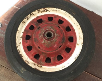 Vintage Red and White Metal Wheel Rubber Tire Wagon Wheel Industrial Decor Buggy Cart