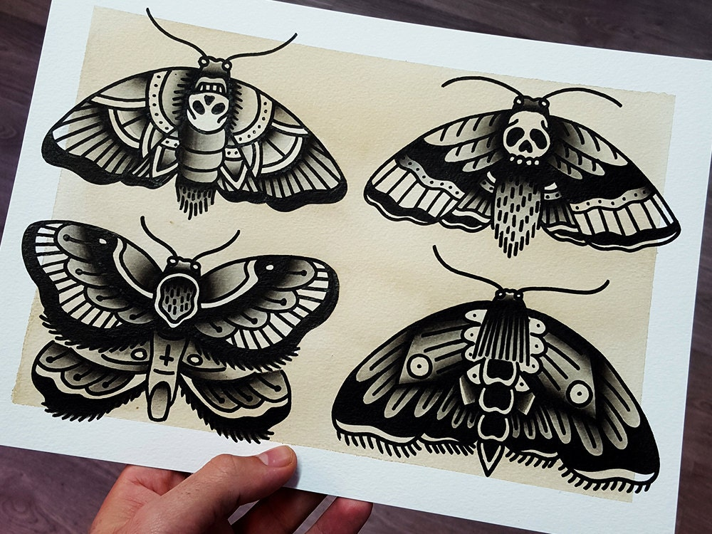 Traditional Butterfly Tattoo Flash: ORIGINAL Moths Traditional Tattoo Flash By LaDolorosaTattoo
