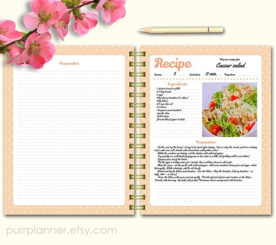 Printable Recipe Cards Personalized Recipe Binder By
