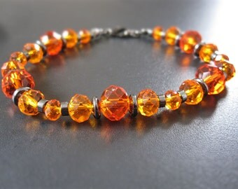 Orange czech crystal bracelet