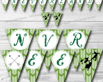 """Neverland Banner INSTANT DOWNLOAD- Printable Peter Pan Inspired """"Neverland"""" Banner - Peter Pan Party - Neverland Party"""