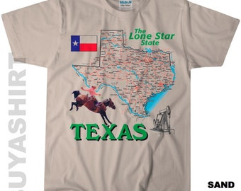 TEXAS The Lone Star State Road Map Souvenir T Shirt