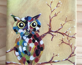 Small Art patchwork owl painting