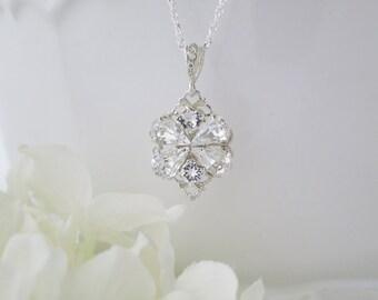 Simple rhinestone pendant necklace, Swarovski crystal bridal necklace, Pendant wedding necklace
