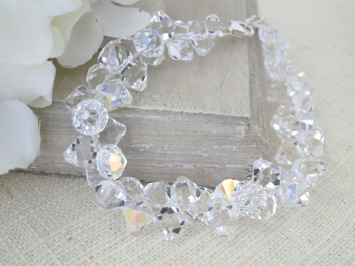 Crystal bridal bracelet, Swarovski crystal wedding bracelet, Modern faceted cluster bracelet