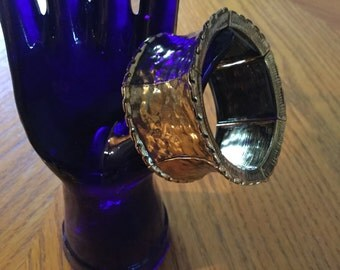 SALE *****BRASS Hammered Slip On Elasticized Bracelet