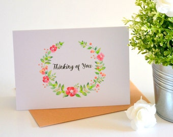 Thinking of You Greeting Card - Sympathy Card - Thinking of You Card - Floral Card - Personalized Card - Handmade Card - Green Red - CARD003