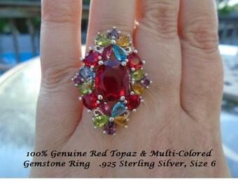 Genuine Red Topaz Or Blue Sapphire & Multi-Colored Gemstone Ring