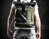 Canvas and leather backpack Original Collection Roll top backpack by Kruk Garage Made of British army duffle bag Mens backpack