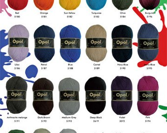 Yarn 4ply uni plain solid colours sock- and jumper yarn 100g 425m Opal beautiful quality knitting yarn choose from 20 colours