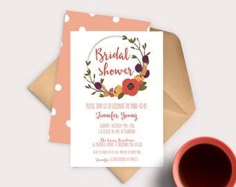 Fall Bridal Shower Invitation, Floral Bridal Shower, Fall In Love, Autumn Bridal Shower, Wedding Shower,  Rustic Bridal Shower