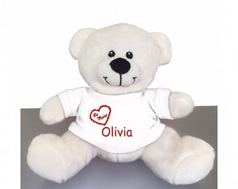 Personalized Valentine's Snuggle Teddy Bear with White T-Shirt, 8 Inch