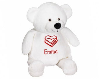 Personalized Premium Plush Hugs and Kisses Teddy Bear - White