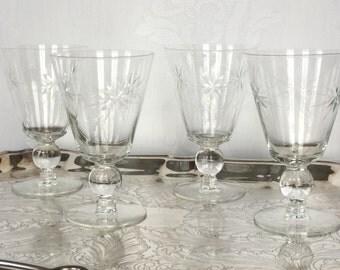 Vintage  Etched Goblets/ Toasting Glasses / Set of Four Vintage Glasses