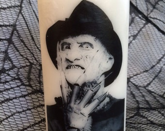 Freddy Krueger White Pillar Candle