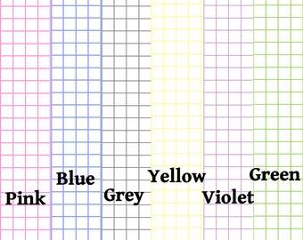 "DIGITAL DL -Graph Paper 1/4"" spaced - 6 colors, Traveler's Notebook, Midori-,"