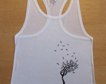 Tree - hand printed, tencel, fairtrade, white singlet