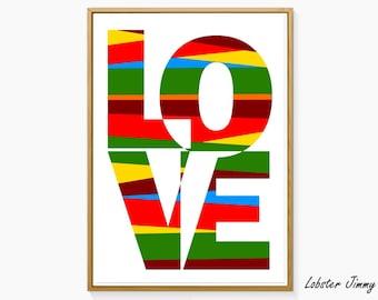 LOVE Typography Art, Colorful Printable Wall Art, Love Poster, Love Decor, Love Art
