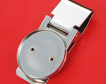 BLANK Hinged Money Clip Findings w. Coin Bezel to Fit US Half Dollars & Other 30.6mm Diameter Coins NEW - Silver Coin Bezel
