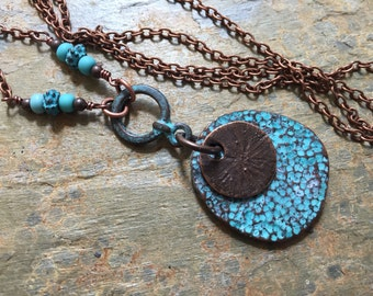 Inspirational Necklace,Be True To Yourself,Turquoise Green Patina Necklace,Artifact Necklace,Hammered Copper,Greek Casting Necklace,137