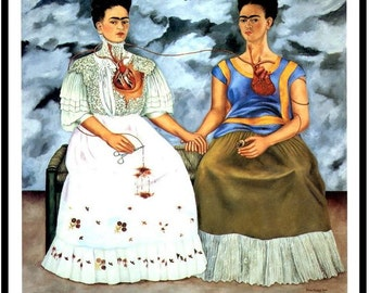 Frida Kahlo 1939 Print, The Two Fridas, Vintage Print, 1993 Book Plate, Ready To Frame