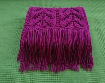 Purple knitted lace scarf