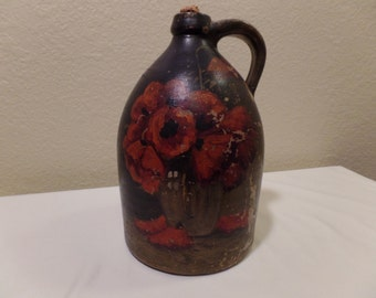 Very Rare Stamped C.W. Braun Buffalo N.Y. Early Antique Primitive Hand Painted Old Time Pottery Stoneware Hooch Jug