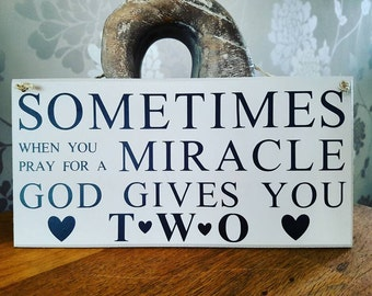 Twins sign, plaque, miracle babies, new baby,birth congratulations