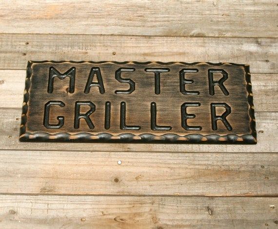 Man Cave Bbq Signs : Bbq sign master griller wood man cave