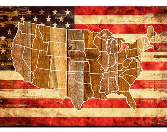 Us Flag Map Etsy - Us flag on the map