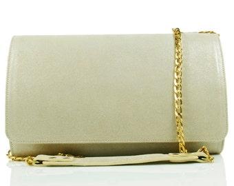 Golden Suede Clutch Bag