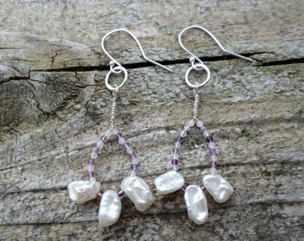 Keshi Pearls with Fluorite Loop Sterling Silver Earrings