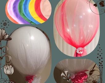"36"" giant tulle balloon for weddings, birthdays, showers, photo props, gender reveal"