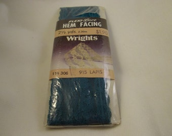 Wrights Flexi-Lace Hem Facing, Lapis, 1 3/4 in x 2 1/2 Yards, 1986