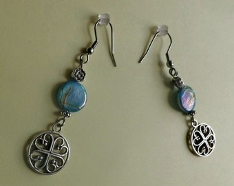 Celtic Round Earrings Round Blue Mother of Pearl