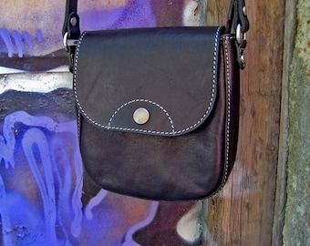 Leather small bag Small leather handbag Shoulder black bag Leather crossbody bag