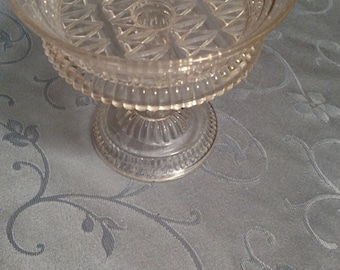 Vintage Pressed Glass Footed Compote Triangle Pattern
