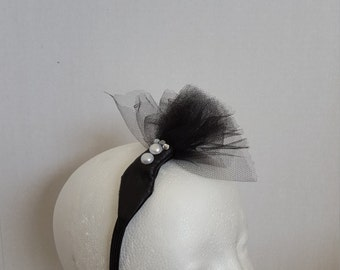 Black Leather And Tulle Headband