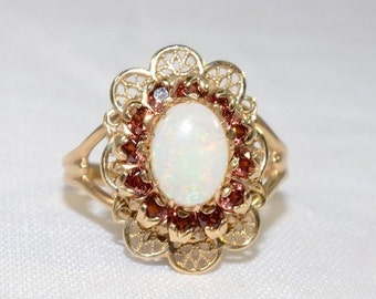 ON SALE Vintage Victorian Style 10k Yellow Gold Lace and Opal Ring Size 7