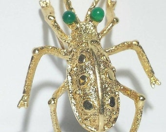 VALENTINES DAY SALE 14k Yellow Gold Green Eyed Beetle Bug Brooch Pin