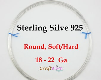 925 Sterling Silver Wire, Dead Soft or Half Hard, Round, 18 20 21 22 Gauge, Length Choice, Wholesale, Jewelry Craft 1 5 15 25 Feet, Wrapping