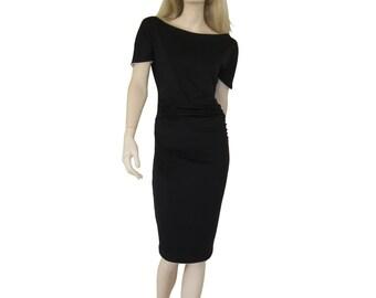 "Pencil dress ""Curves"", off shoulder dress, boat neck, bodycon midi dress, tight black dress."