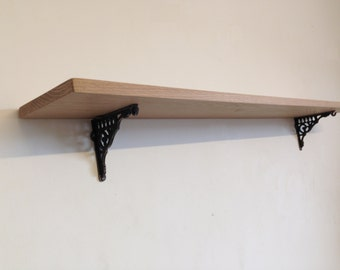 Luxury Solid Oak Wooden Shelving Shelf with Victorian Cast Iron Brackets Made to Order