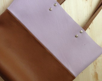 Leather Tote .Brown leather tote.Lilac leather tote.Leather tote bag.Tote bag.Brown leather tote bag.40