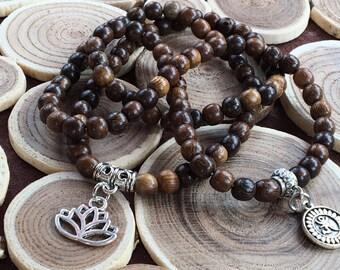Basic Mala Jewelry,108 Mala Beads Natural,Mala Yoga 108,Healing Wood Brown,Prayer Necklace Mala,Yoga Charm,Om Buddhist Yoga,Lotus Charm