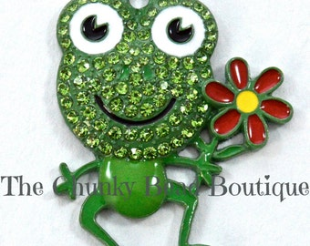 Rhinestone Frog with Flower Pendant