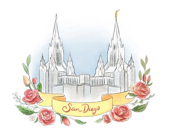 San Diego LDS temple, Latter Day Saint art, Mormon painting, flower banner wreath, young woman decor, relief society handout, wedding gift
