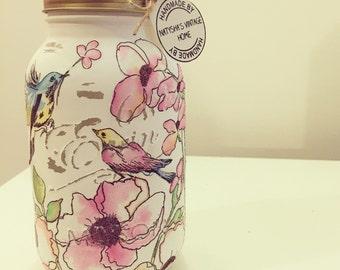 Hand made birds & flowers Mason jar