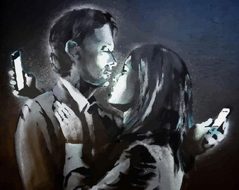 BANKSY Canvas Graffiti Mobile Lovers Wall Art Print Gallery Wrapped