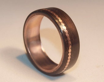 wooden rings bentwood copper and ebony inlay rings mens wood rings womens wood - Lord Of The Rings Wedding Band